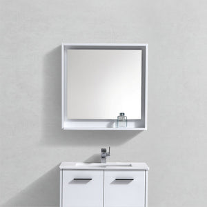 "KubeBath Bosco 30"" Framed Mirror With Shelve - Gloss White Finish - Bleu Gem"