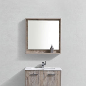 "KubeBath Bosco 30"" Framed Mirror With Shelve - Nature Wood Finish - Bleu Gem"