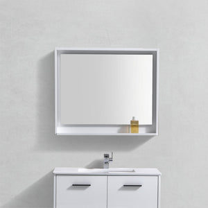 "KubeBath Bosco 36"" Framed Mirror With Shelve - Gloss White Finish - Bleu Gem"