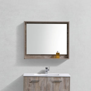 "KubeBath Bosco 36"" Framed Mirror With Shelve - Nature Wood Finish - Bleu Gem"