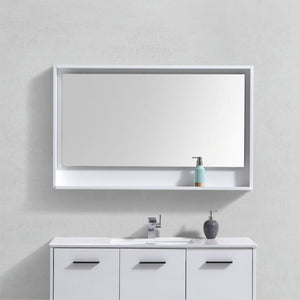 "KubeBath Bosco 48"" Framed Mirror With Shelve - Gloss White Finish - Bleu Gem"
