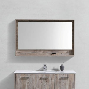 "KubeBath Bosco 48"" Framed Mirror With Shelve - Nature Wood Finish - Bleu Gem"