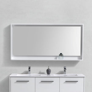 "KubeBath Bosco 60"" Framed Mirror With Shelve - Gloss White Finish - Bleu Gem"