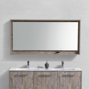 "KubeBath Bosco 60"" Framed Mirror With Shelve - Nature Wood Finish - Bleu Gem"