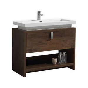 "KubeBath Levi 40"" Rose Wood Modern Bathroom Vanity w/ Cubby Hole - Bleu Gem"