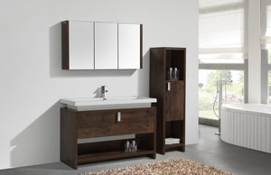 "KubeBath Levi 48"" Rose Wood Modern Bathroom Vanity w/ Cubby Hole - Bleu Gem"