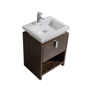 "KubeBath Levi 24"" Rose Wood Modern Bathroom Vanity w/ Cubby Hole - Bleu Gem"