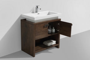 "KubeBath Levi 32"" Rose Wood Modern Bathroom Vanity w/ Cubby Hole - Bleu Gem"