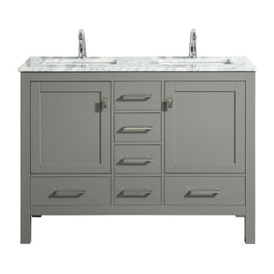 Eviva London 48″ X 18″ Transitional Gray Bathroom Vanity with White Carrara Marble and Double Porcelain Sinks - Bleu Gem