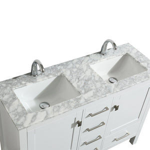 Eviva London 48″ X 18″ Transitional White Bathroom Vanity with White Carrara Marble and Double Porcelain Sinks - Bleu Gem