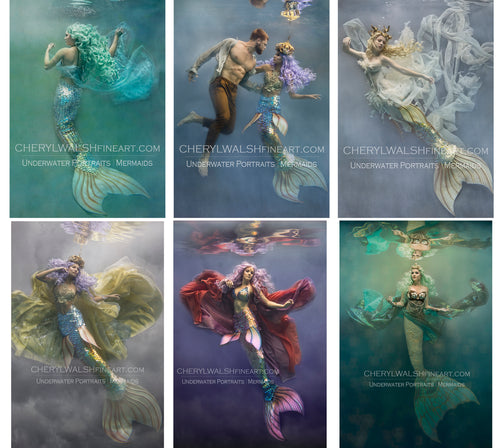 6 - Set of Six 4x6 Mermaid Underwater Fine Art Gift Prints