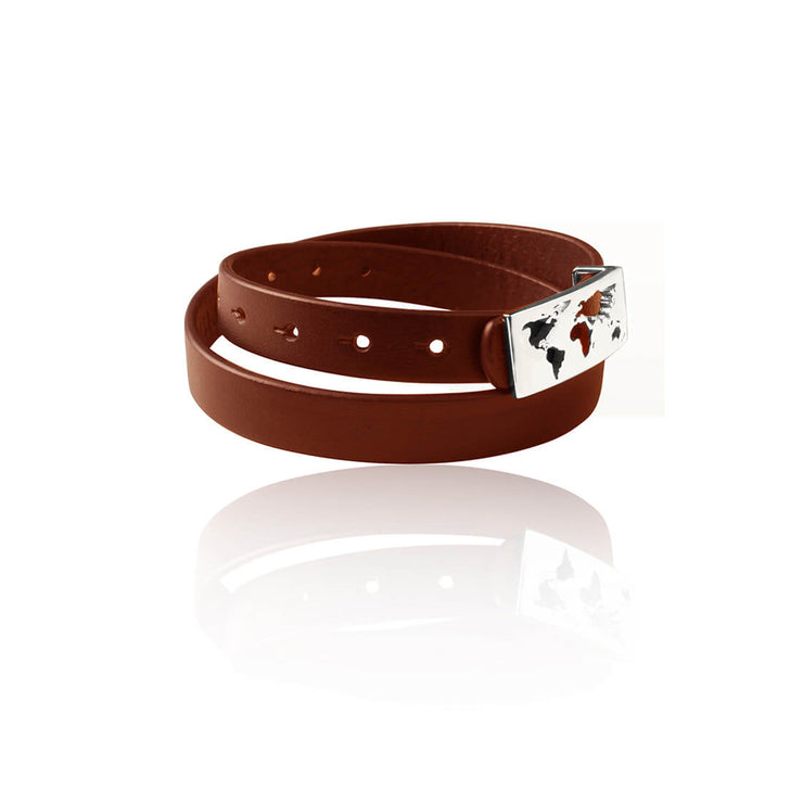 BROWN RHODIUM Map Leather Bracelet