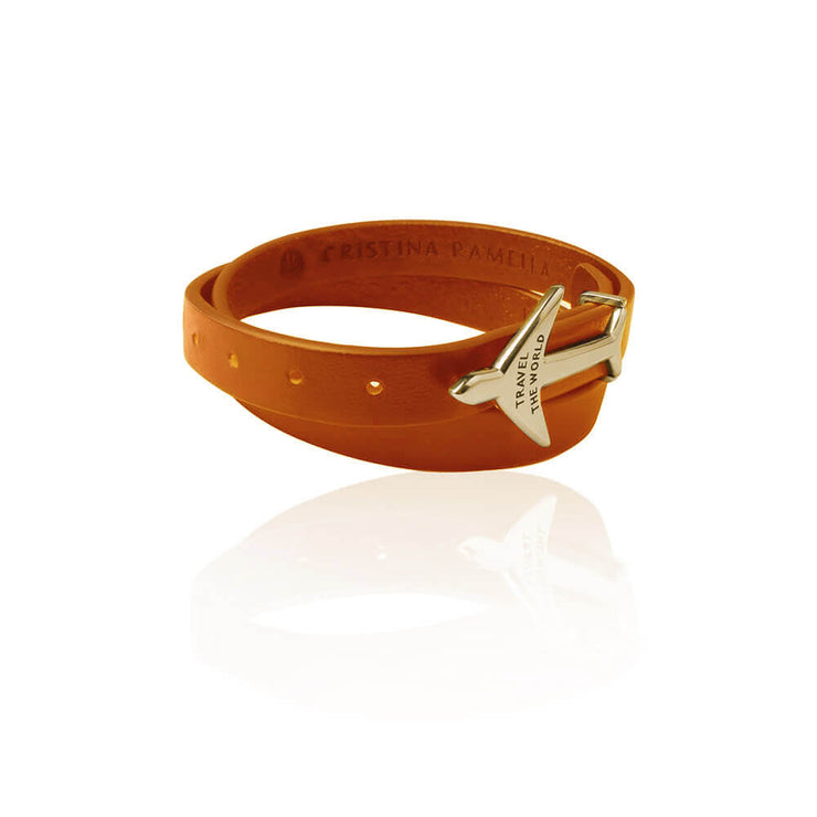 Orange Airplane Leather Bracelet by Cristina Ramella