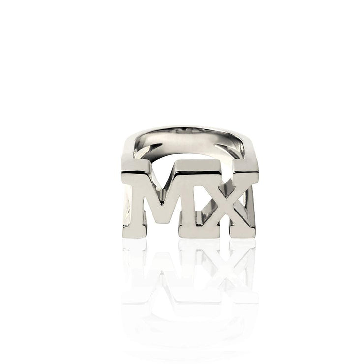 Rhodium Plated MX Ring by Cristina Ramella
