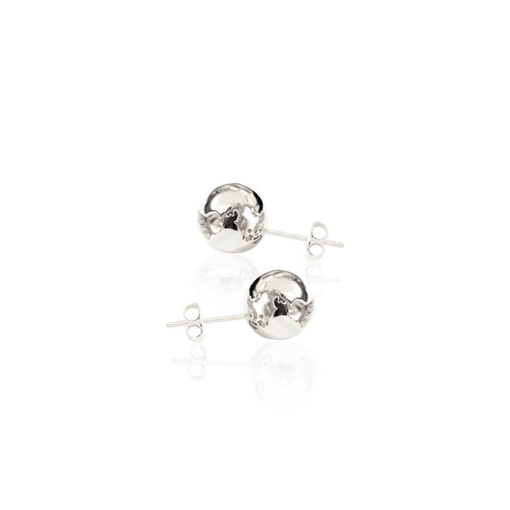 Rhodium World Small Earrings by Cristina Ramella