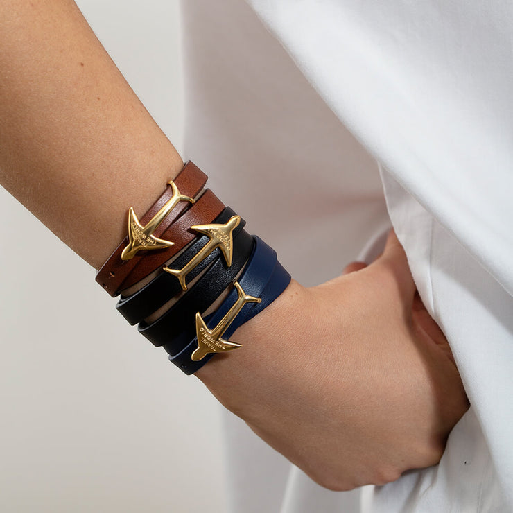 Wearing Airplane Leather Bracelet by Cristina Ramella