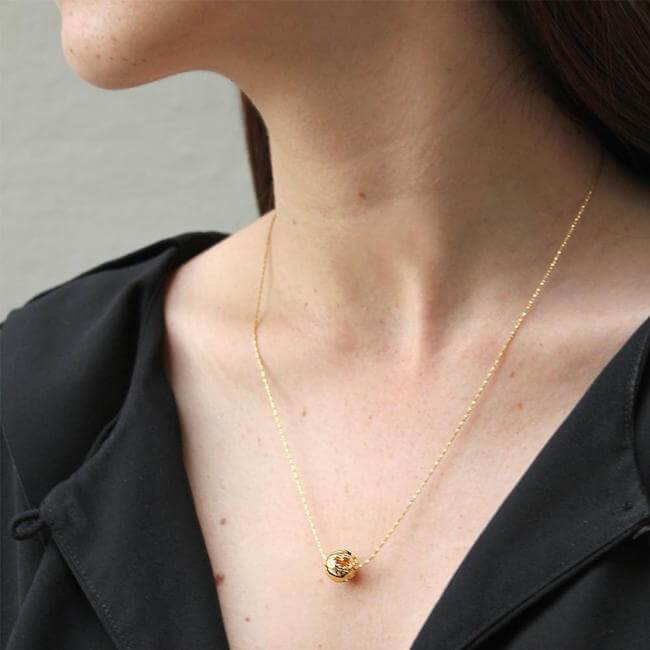 24K Gold Plated World Charm Necklace by Cristina Ramella