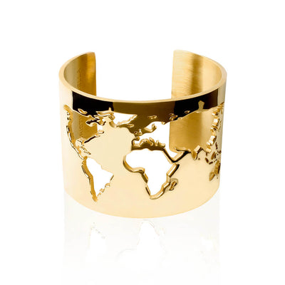 24K Gold Plated World Cuff by Cristina Ramella