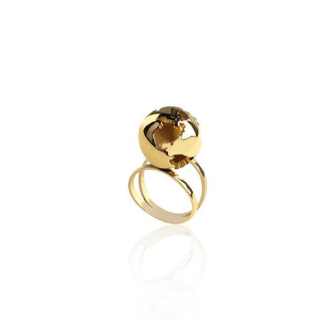 24K Gold Plated World Globe Ring by Cristina Ramella