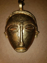 Load image into Gallery viewer, African Pendant Brass Goldweight Mask,  with 13mm wide Brass Fancy Vintage Twist Chain