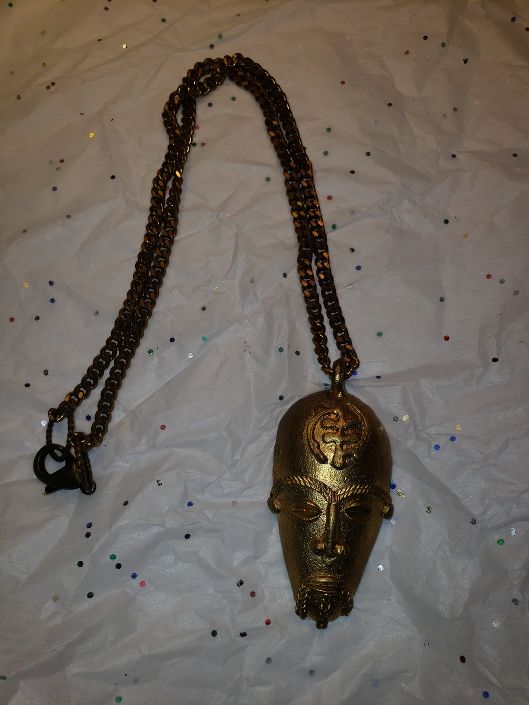 African Pendant Brass Goldweight Mask, with 7mm wide Brass Fancy Vintage Bowdoin Chain