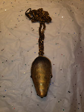 Load image into Gallery viewer, African Pendant Brass Goldweight Mask, with 7mm wide Brass Fancy Vintage Bowdoin Chain