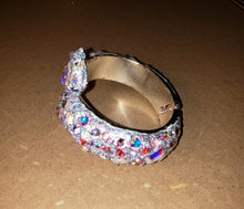 Load image into Gallery viewer, Hinged Bangle Bracelet w/AB Crystal Rhinestones