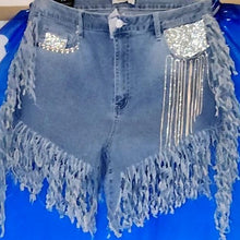 Load image into Gallery viewer, Chilling Rhinestone Fringe Jean Shorts 1x