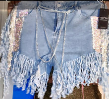 Load image into Gallery viewer, Chilling At The Disco Rhinestone Fringe Shorts Size 2X