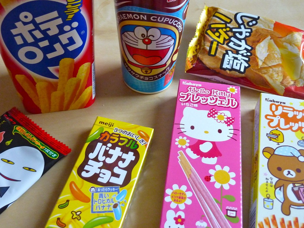 A Selection of Colorful Japanese Snacks