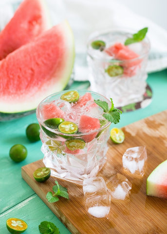 Topical drink with mint leaves and watermelon