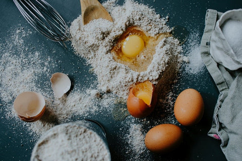 Organic sweet rice flour and eggs used for baking