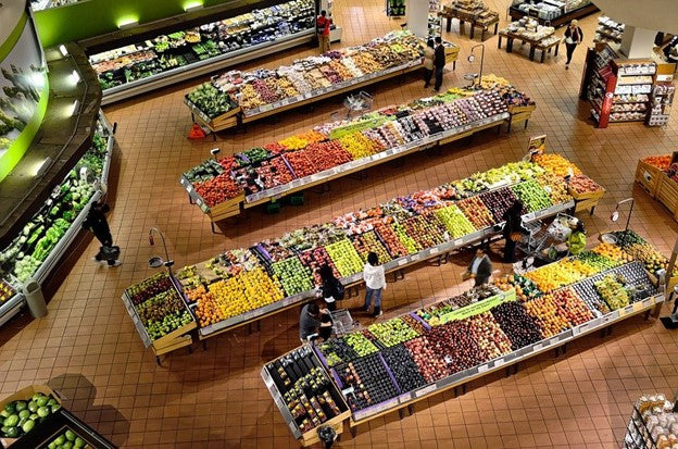 Fresh and canned foods in a supermarket