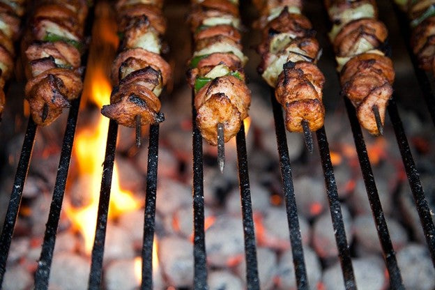 Japanese food on a charcoal grill