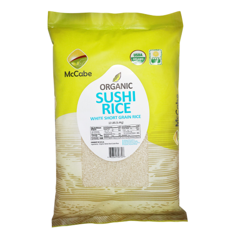 Organic white sushi rice available at SF Mart