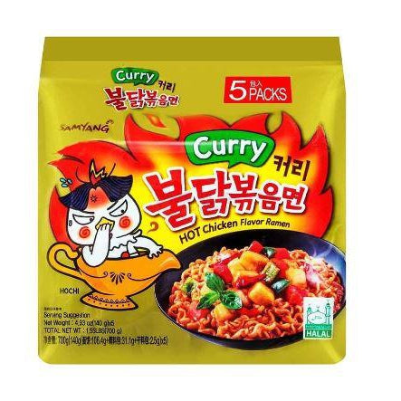 SFMart Samyang Curry Hot Chicken Flavor Ramen (삼양 커리 불닭볶음면) 140g x 5 Packs Ramen Bags- SFMart