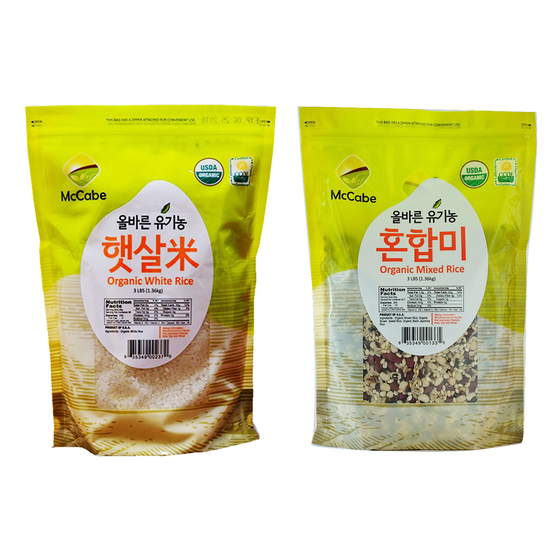 SFMart McCabe Organic Grain, (2-Packs) (3lbs White Rice and 3lbs Mixed Rice) - 6lbs Grain & Rice- SFMart