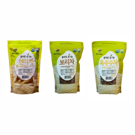 McCabe Organic Tea, (3-Pack) (1.5lbs Corn Tea, 1.5lbs Barley Tea, and 2lbs Brown Rice Tea) - SFMart
