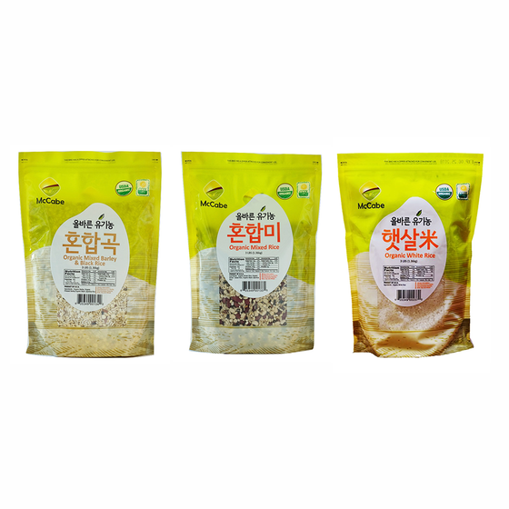 McCabe McCabe Organic Grain, (3-Pack) (3lbs White Rice, 3lbs Mixed Rice and 3lbs Mixed Barley & Black Rice) - 9lbs Grain & Rice- SFMart