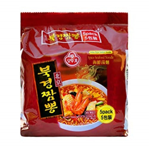 Ottogi Spice Seafood Noodle (오뚜기 북경짬뽕), 120g x 5 Packs - SFMart