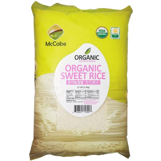 McCabe McCabe Organic Sweet Rice (찹쌀), 12-Pound Grain & Rice- SFMart