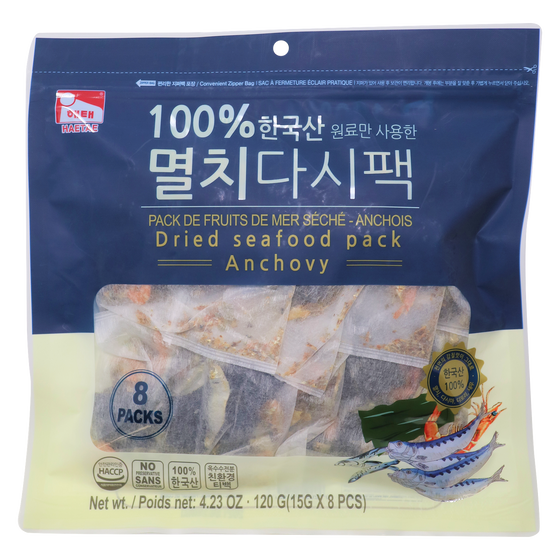 SFMart Haetae Dried Seafood pack-Anchovy (해태  한국산 멸치다시팩) 15g x 8pcs Dried Foods- SFMart