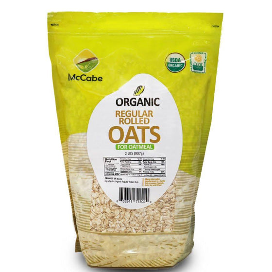 McCabe McCabe Organic Regular Rolled Oats (For Oatmeal), 2-Pound Grain & Rice- SFMart