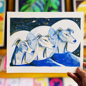 Astronaut Greyhounds Mini Print