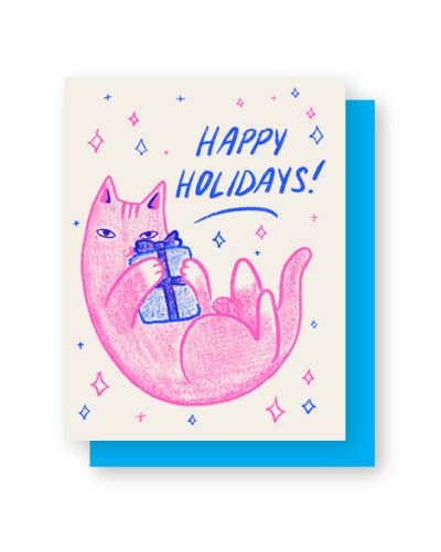 Cat Present Holiday Card