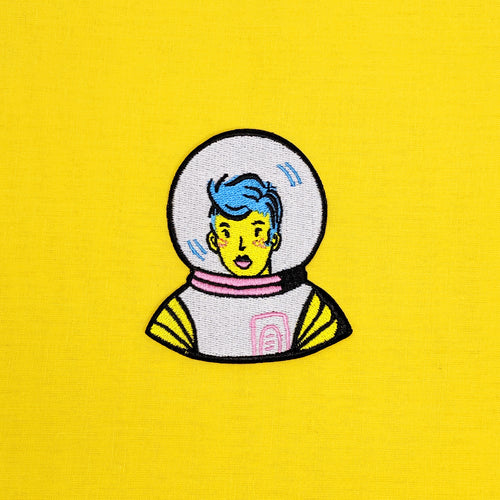 Blue Astronaut Iron-On Patch