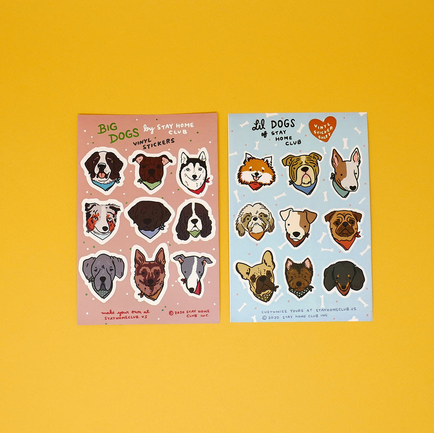 Big and Lil Dog Sticker Sheets