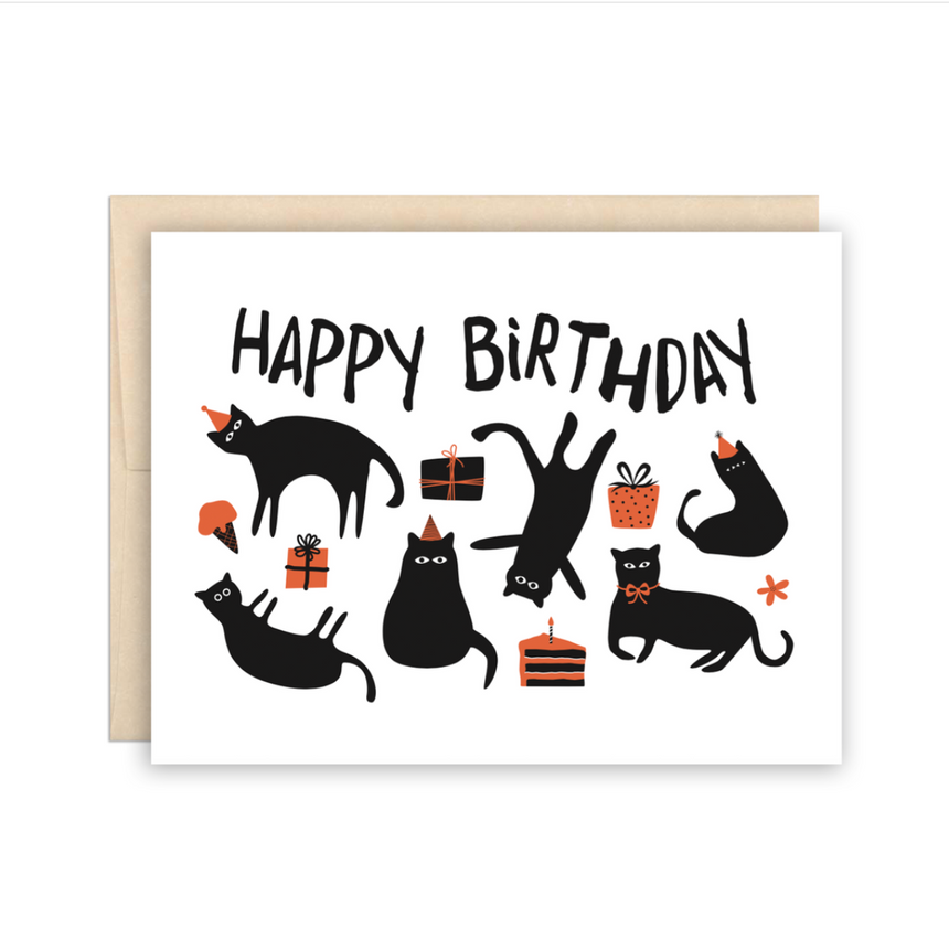 Happy Birthday Black Cats Greeting Card