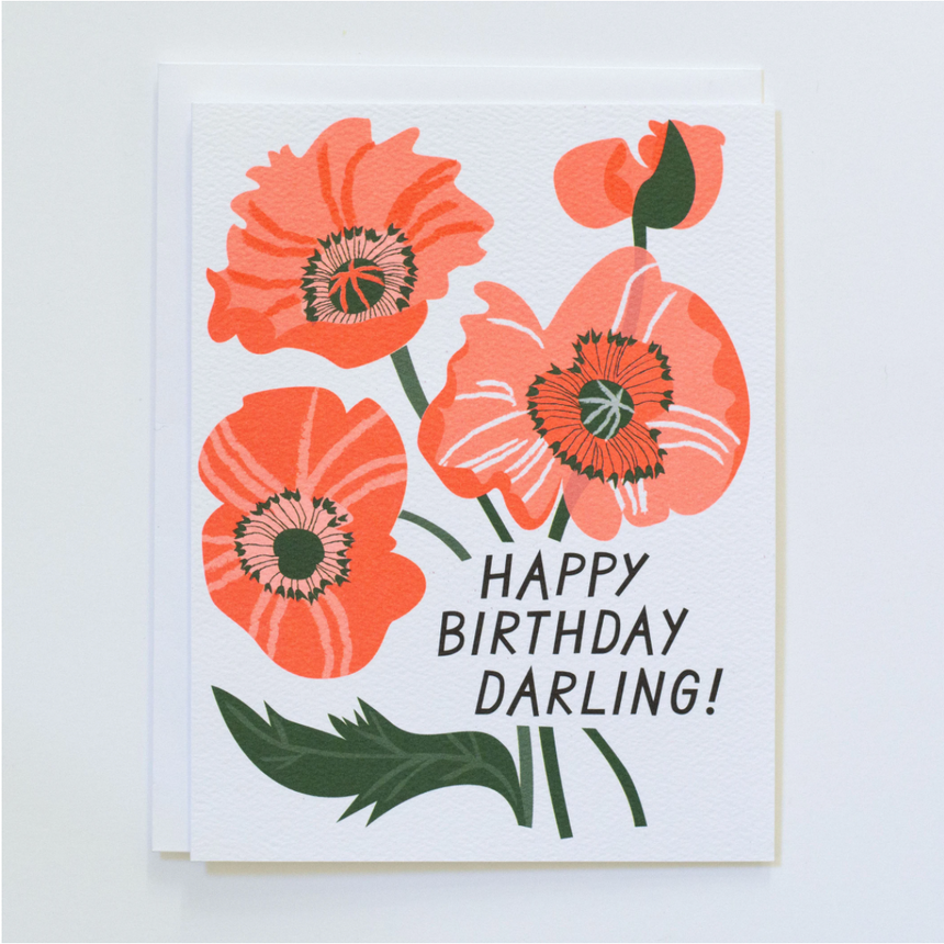 Happy Birthday Darling Flowers Greeting Card