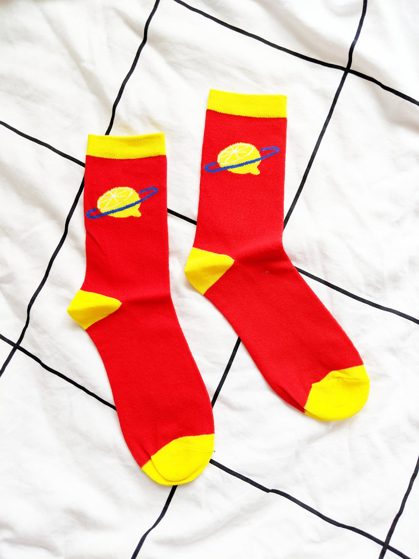 Lemon Planet Socks